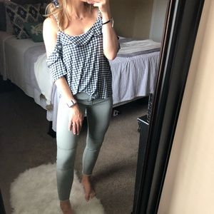 American Eagle Outfitters Tops - American Eagle Gingham Cold Shoulder Tee